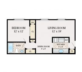 1 Bedroom 1 Bathroom. 680 sq. ft.