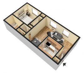 1 Bedroom 1 Bathroom. 680 sq. ft. 3D Furnished