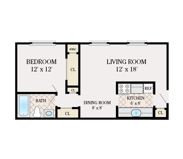1 Bedroom 1 Bathroom. 680 Sq. Ft.
