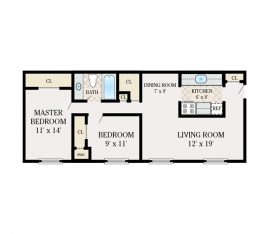 2 Bedroom 1 Bathroom. 930 sq. ft.