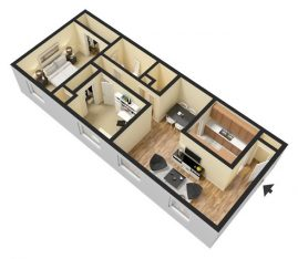 2 Bedroom 1 Bathroom. 930 sq. ft. 3D Furnished