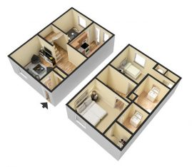 2 Bedroom 1.5 Bathroom. Townhome. 960 sq. ft. 3D Furnished