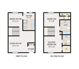 2 Bedroom 1.5 Bathroom. Townhome. 960 sq. ft.