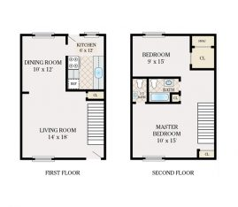 2 Bedroom 1.5 Bathroom. Townhome. 980 sq. ft.